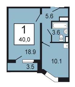 """Купить однокомнатную квартиру 40 м2 в жк """"южное кучино 2 (жи."""